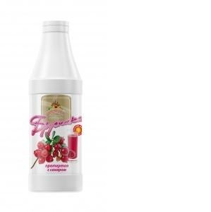 Брусника протертая с сахаром (основа для морса) 1000г*6, бутылка ПЭТ