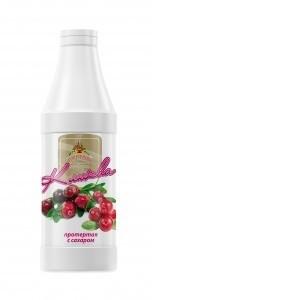 Клюква протертая с сахаром (основа для морса) 1000г*6, бутылка ПЭТ