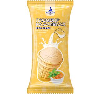 Вафельный стаканчик 90/32 мороженое пломбир крем-брюле на сливках